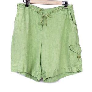 J. Jill Green Linen Casual High Rise Shorts